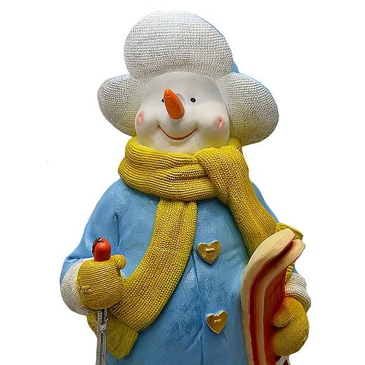 """ДомФигурок Снеговик лыжник с табличкой """"Да будет снег!"""" 01348 70 см - 2"""