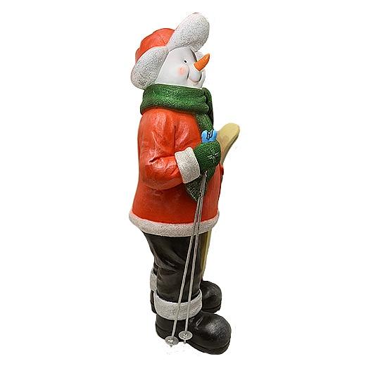 """ДомФигурок Снеговик лыжник с табличкой """"Да будет снег!"""" - 2"""