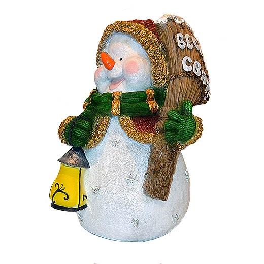 "ДомФигурок Снеговик с веником ""Веселих свят!"" 41х30х28 см - 1"