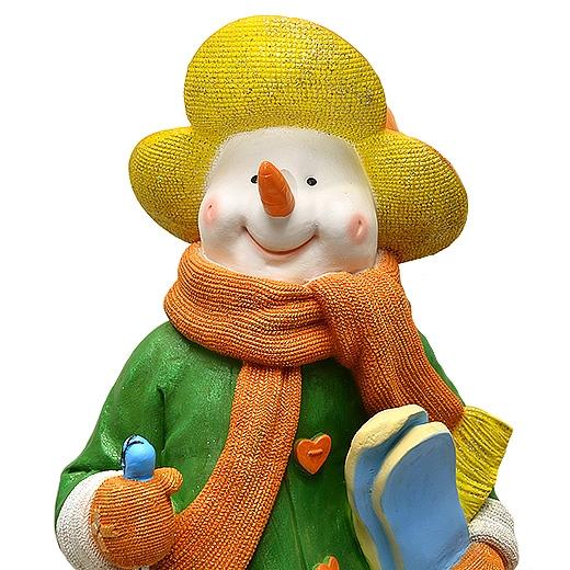 "ДомФигурок Снеговик лыжник с табличкой ""Желаю удачи!"" 01348ж - 2"