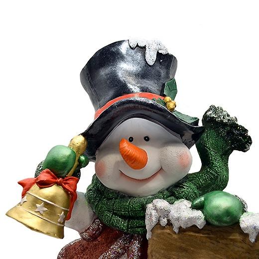 """Новогодняя фигура ДомФигурок Снеговик в шляпе с табличкой """"Веселих свят!"""" - 1"""