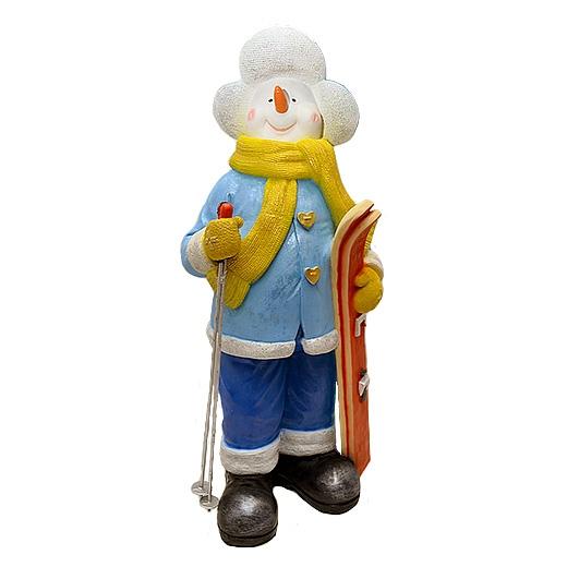 """ДомФигурок Снеговик лыжник с табличкой """"Да будет снег!"""" 01348 70 см - 1"""