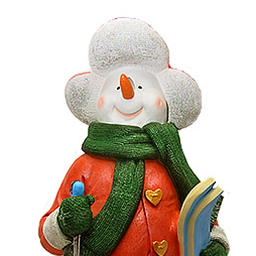 """ДомФигурок Снеговик лыжник с табличкой """"Да будет снег!"""" - 4"""