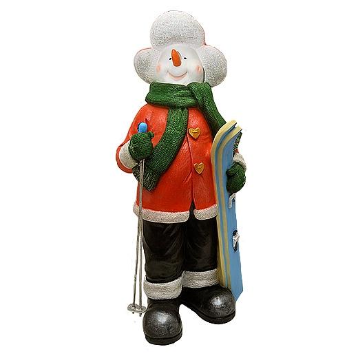 """ДомФигурок Снеговик лыжник с табличкой """"Да будет снег!"""" - 1"""