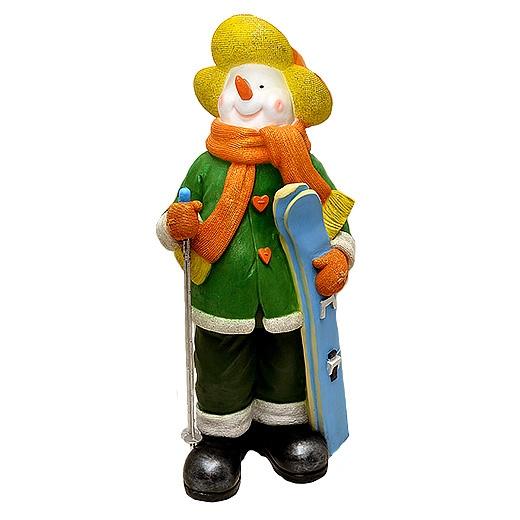 "ДомФигурок Снеговик лыжник с табличкой ""Желаю удачи!"" 01348ж - 1"